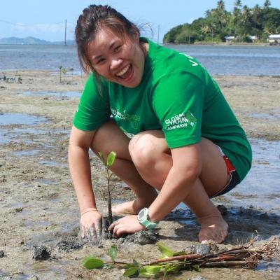 A woman plants mangroves as part of our global volunteer opportunities in Fiji.